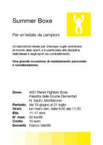 Summer Boxe2017 - Scheda Info